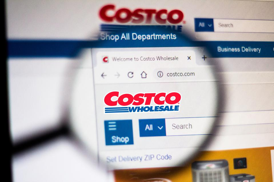 In this photo illustration the homepage of the Costco...