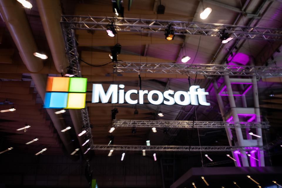 Microsoft logo during the day 3 of the annual Web Summit...