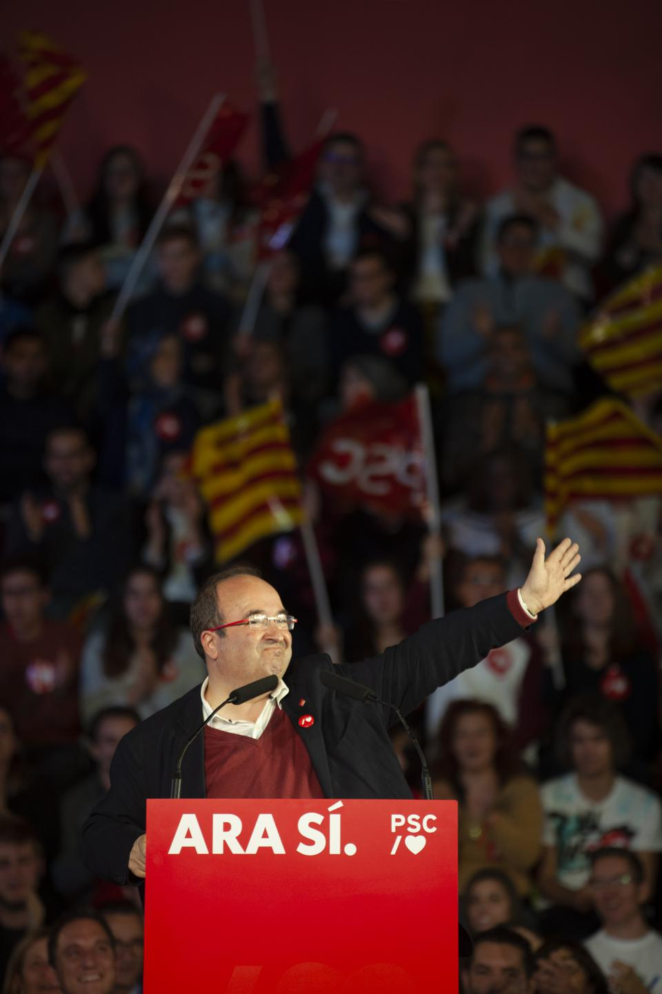 The PSC Socialist Party campaigning for the Sunday general elections in Spain