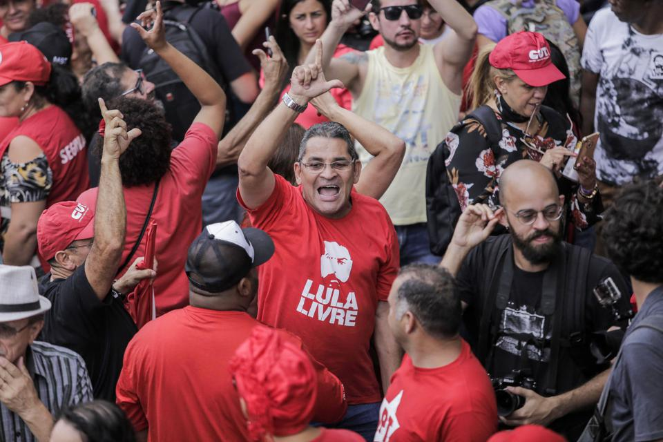 Former President Lula of Brazil Makes a Speech at the Sindicato dos Metalurgicos do ABC After Being Released from Prison