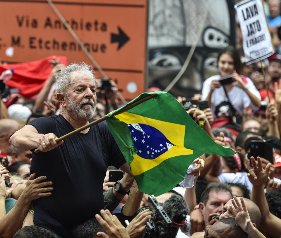 Nekdanja brazilska predsednica Lula, ko je bila izpuščena iz zapora, nagovorila na konferenci Sindicato dos Metalurgicos do ABC