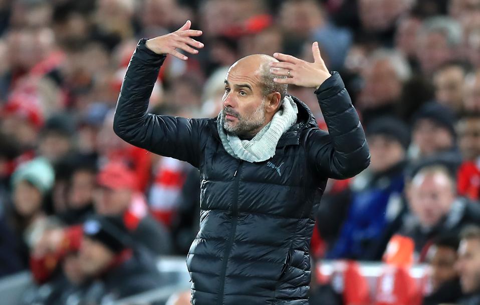 Pep Guardiola Liverpool v Manchester City - Premier League - Anfield