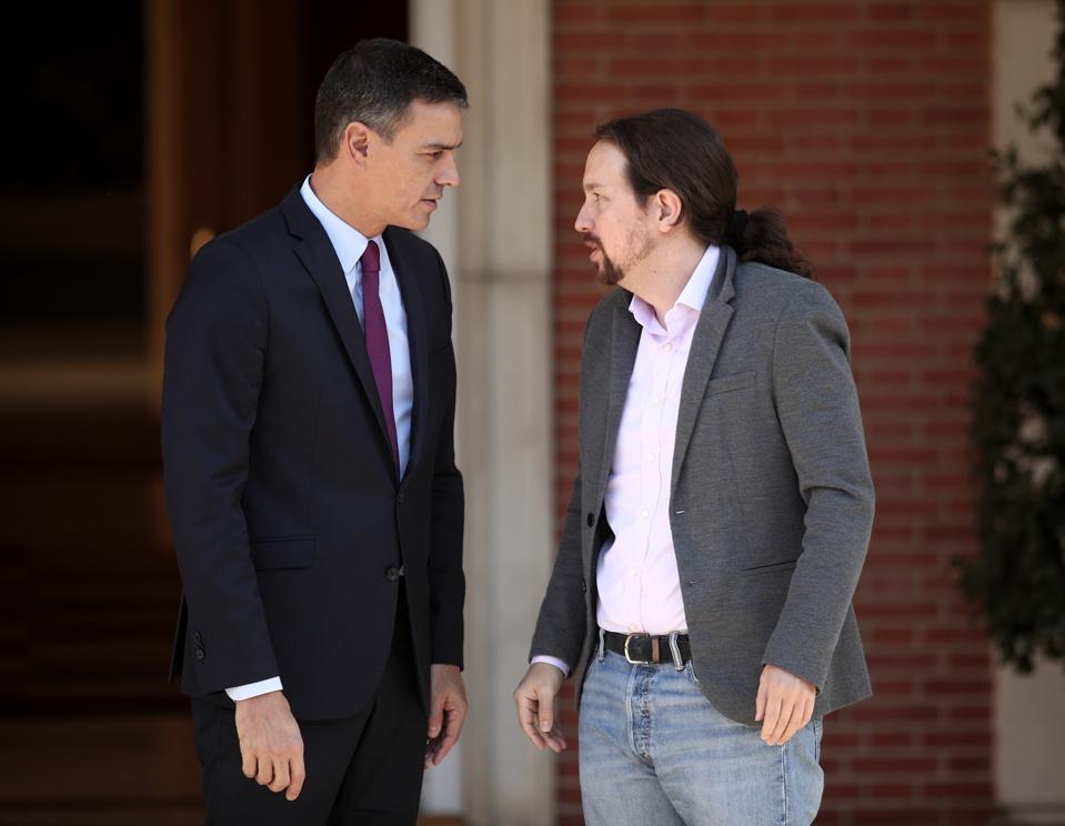 Pedro Sanchez Meets With Pablo Iglesias At Moncloa