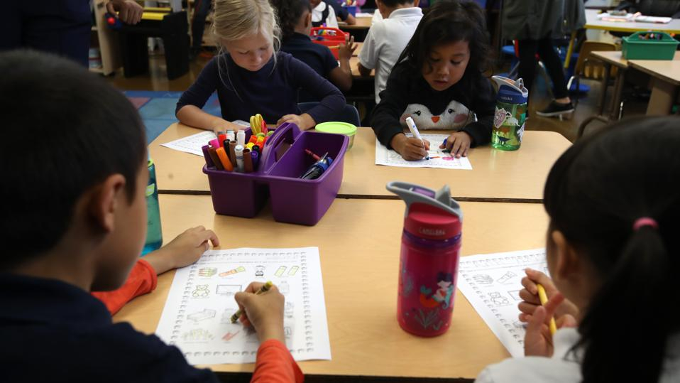 Students engage in classwork.