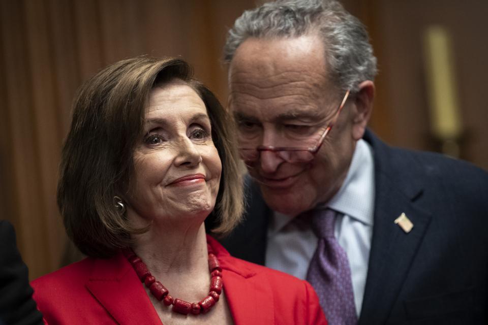 U.S. House Speaker Nancy Pelosi (D-CA) and Senate Minority Leader Chuck Schumer (D-NY)