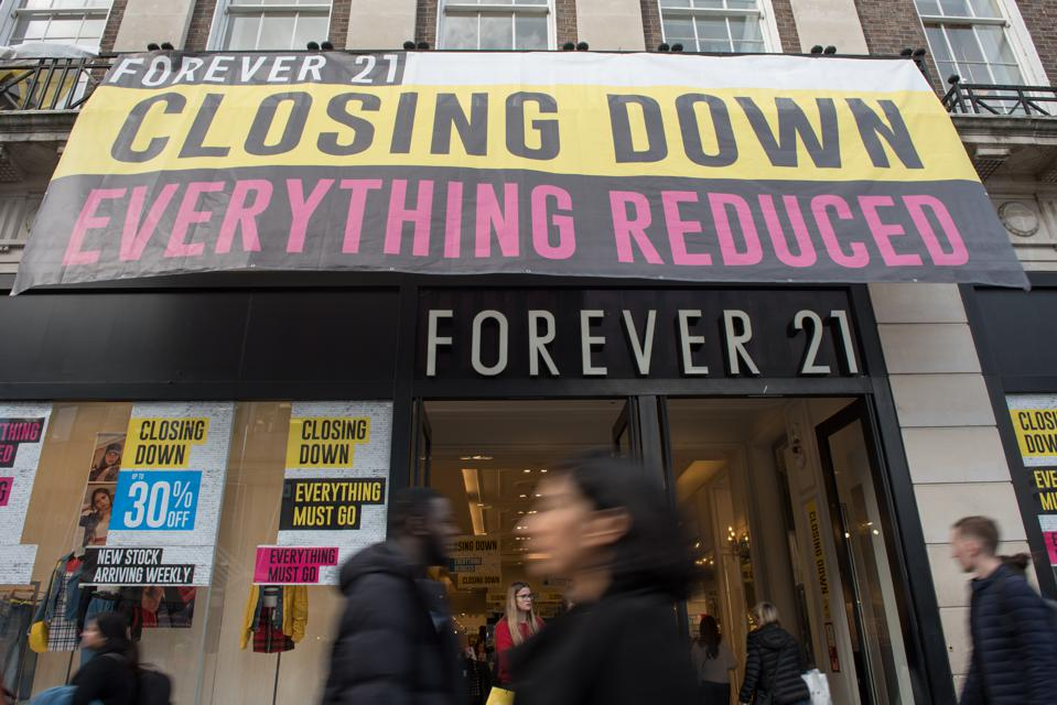 A Forever 21 store holds a store-closing sale in London, England, October 16.