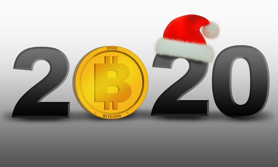 illustration of 2020 new year with gold coin bitcoin
