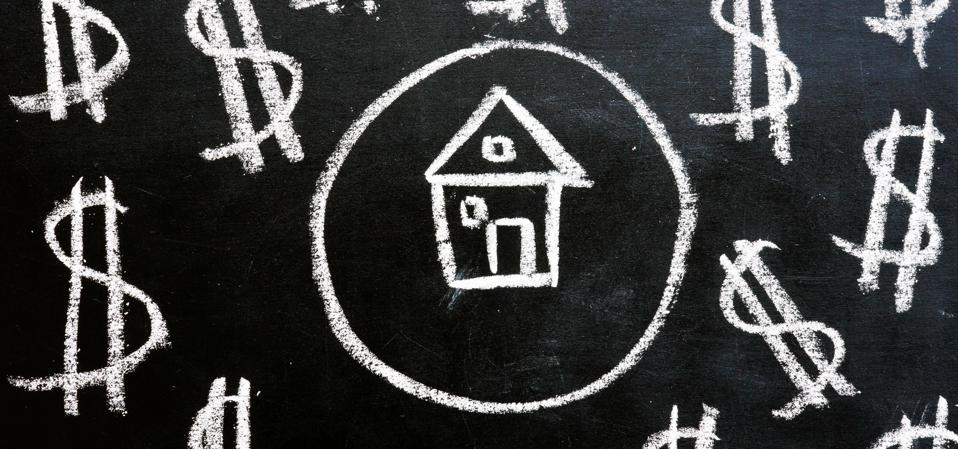 Chalk drawn house and dollar signs. Mortgage refinance.