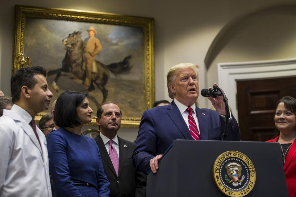 President Donald Trump delivers remarks on transparency in health care prices