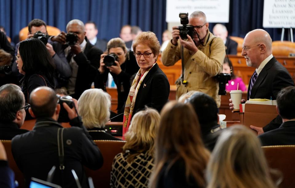 Former U.S. Ambassador To Ukraine Marie Yovanovitch Testifies At Impeachment Hearing  (Photo by Joshua Roberts - Pool/Getty Images)