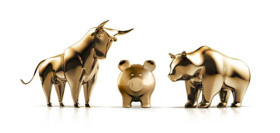 Golden Bull and Bear with Piggy bank