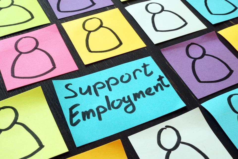 Support employment inscription and colored squares of paper with black line person icons