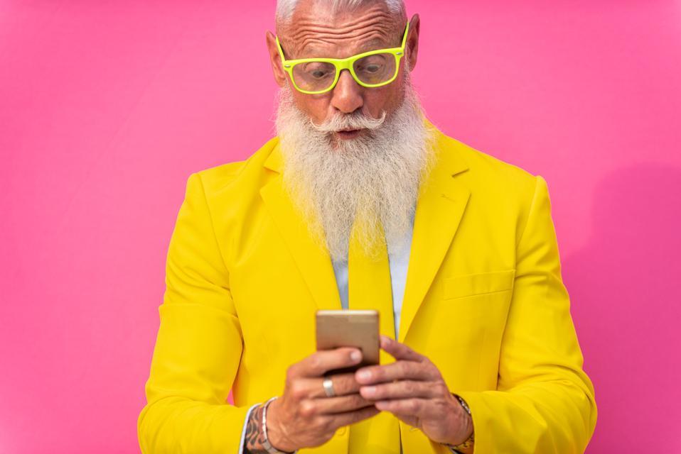Stylish hipster senior man
