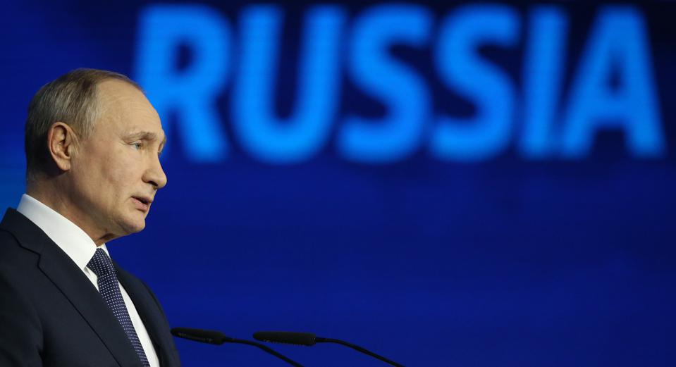Russian President Vladimir Putin attends the Russia Calling! VTB Capital Investment Forum in Moscow