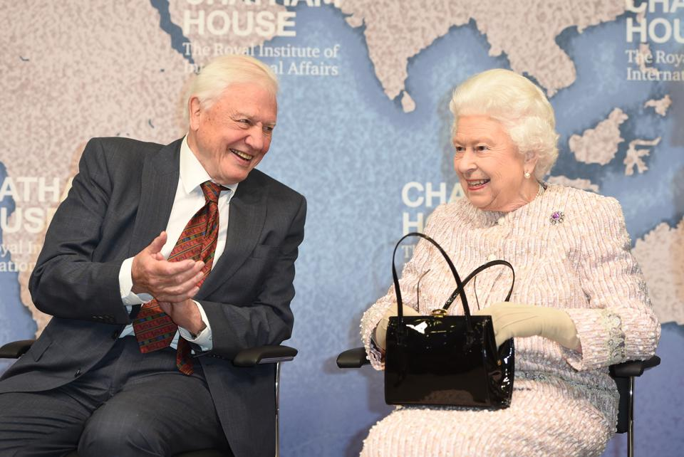David Attenborough speaks with Queen Elizabth II at at The Chatham House Prize 2019.