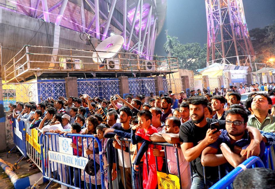 Cricket Fan's wait outside the stadium for Tickets. Kolkata...