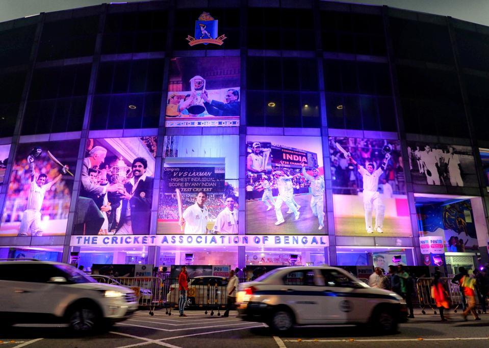 Eden Garden Stadium decorated with Pink Lights. Kolkata is...