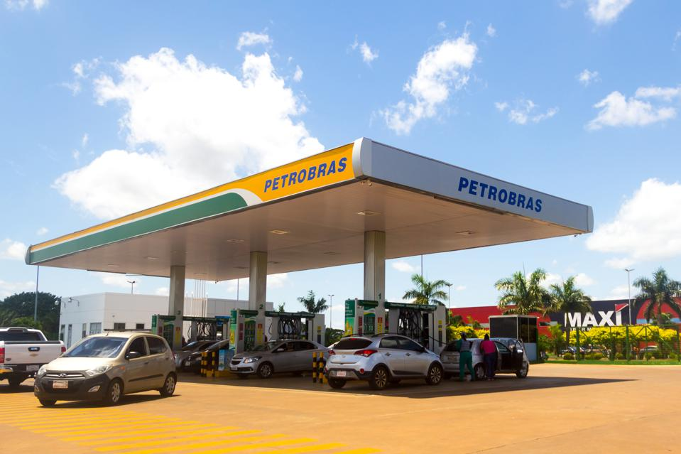 A gas station of the Brazilian company Petrobras in Pedro...