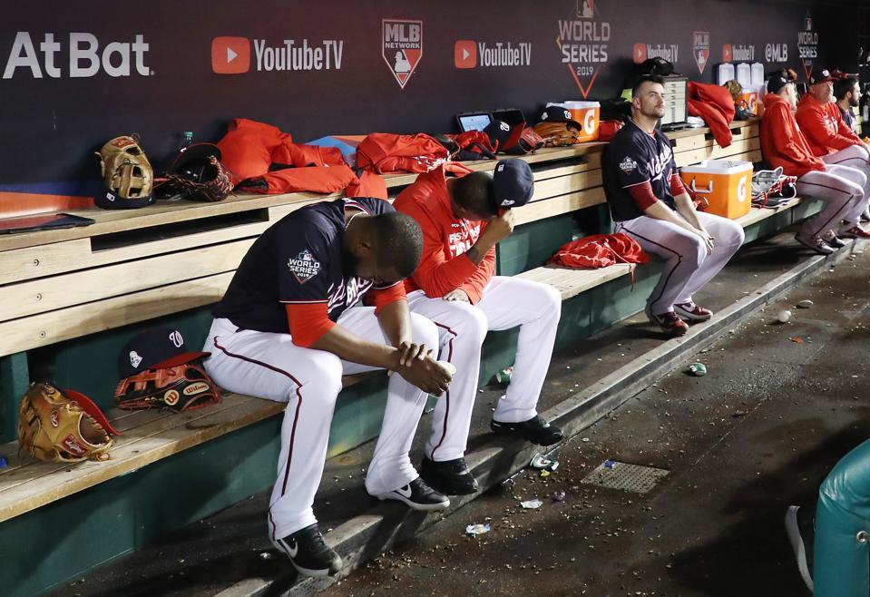 The Washington Nationals react against the Houston Astros.