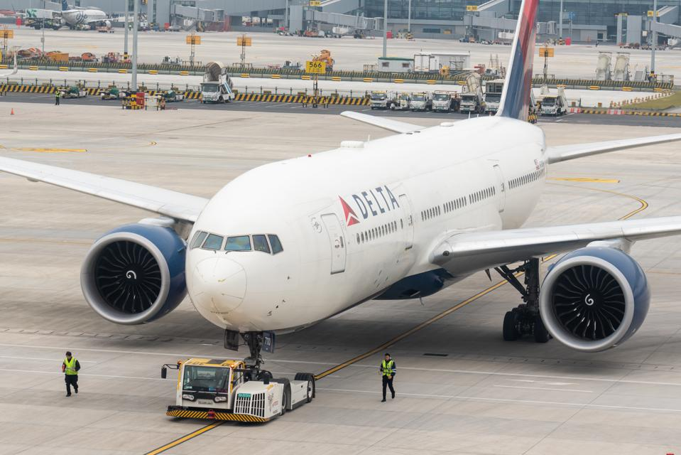 Delta Airlines Boeing 777-200LR aircraft seen at Shanghai...