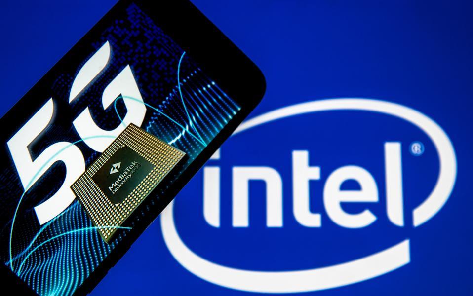 Logos of Intel, Mediatek and 5G technology