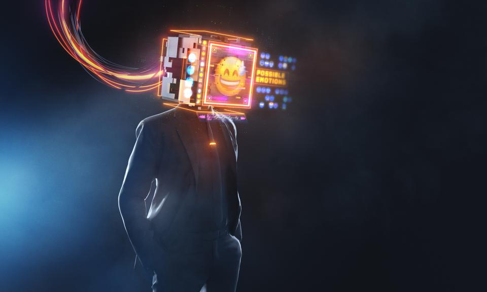 Businessman with smily emoji projection screen. 3D render futuristic concept