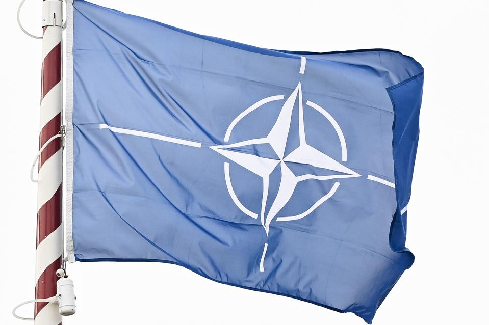 NATO flag seen during the 101st anniversary of the creation...