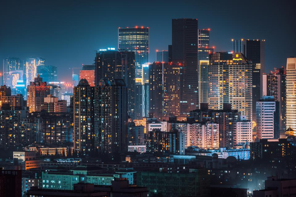 Chengdu skyline aerial view at night