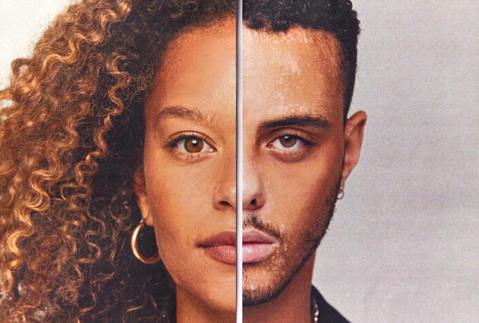 Gender Identity Concept With Composite Image Made From Halved Male And Female Facial Features