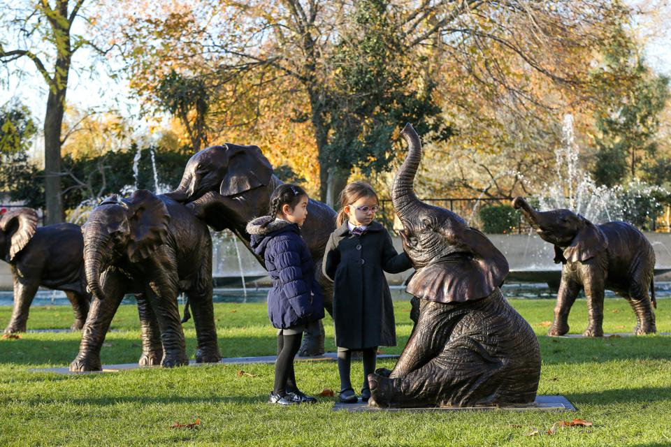 21 bronze elephants by artists, Gillie and Marc at Marble Arch in London.