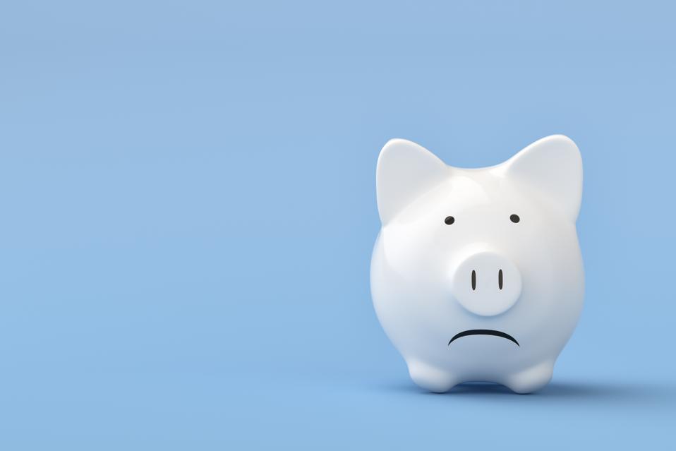 Financial crisis , Sadness White Piggy Bank
