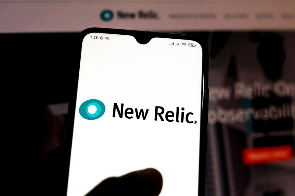 In this photo illustration the New Relic logo is seen...