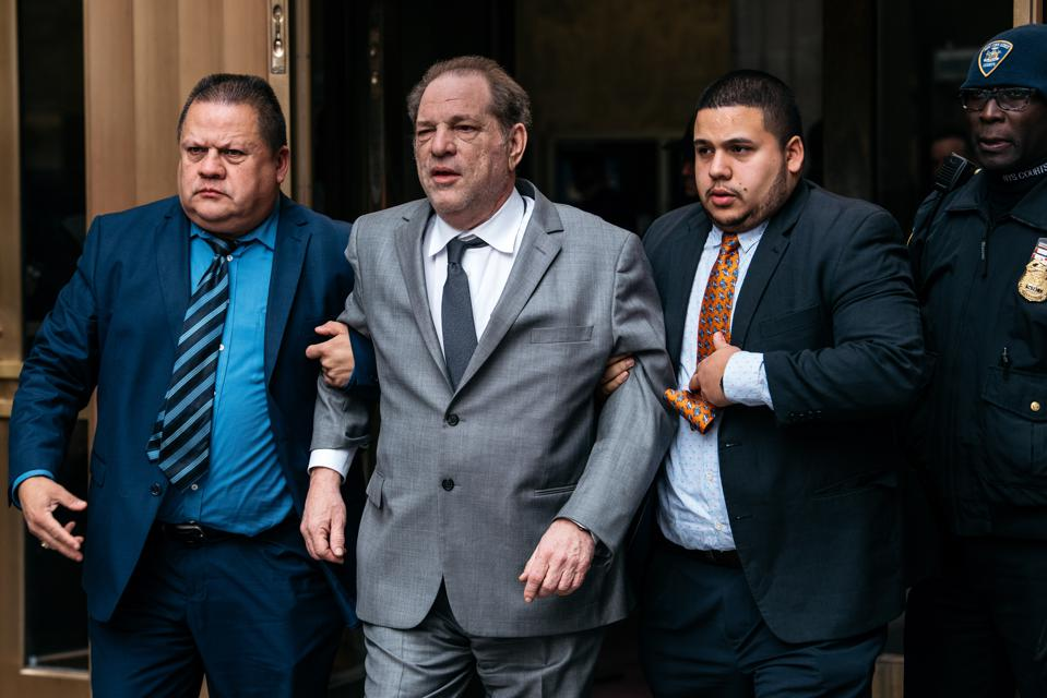 Harvey Weinstein leaves New York City Criminal Court after a bail hearing on December 6.
