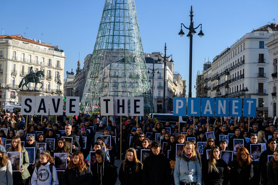 Protests at the UN Climate Change Conference COP25 in Madrid in December 2019.