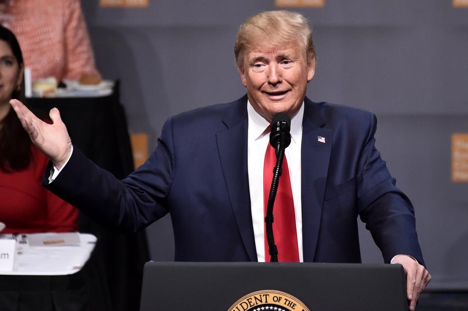 President Donald Trump Speaks At The Economic Club Of New York