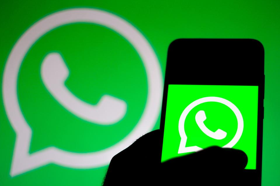 In this photo illustration the WhatsApp logo is seen...