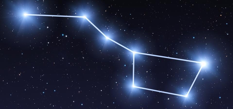 Costellazione del grande mestolo nel cielo stellato