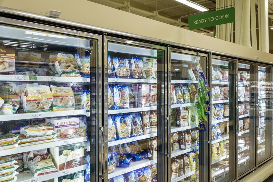 Grocery store frozen foods aisle.