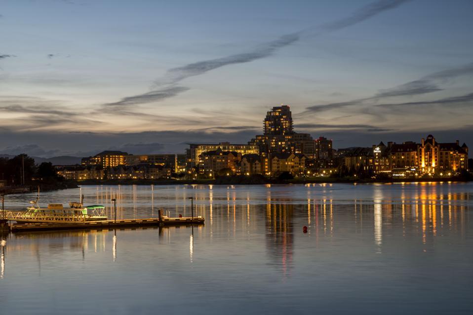 Victoria, British Columbia, Canada Inner harbor at night