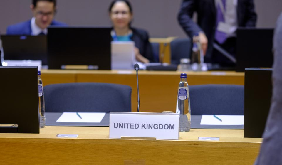 Empty U.K. desk at the EU Environment Council Ministers meeting, December 19, 2019.