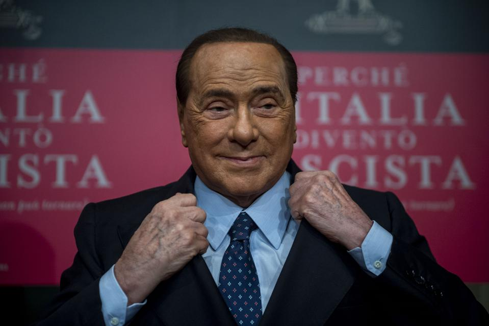 Silvio Berlusconi attends the presentation of a new book by Italian writer Bruno Vespa in Rome.