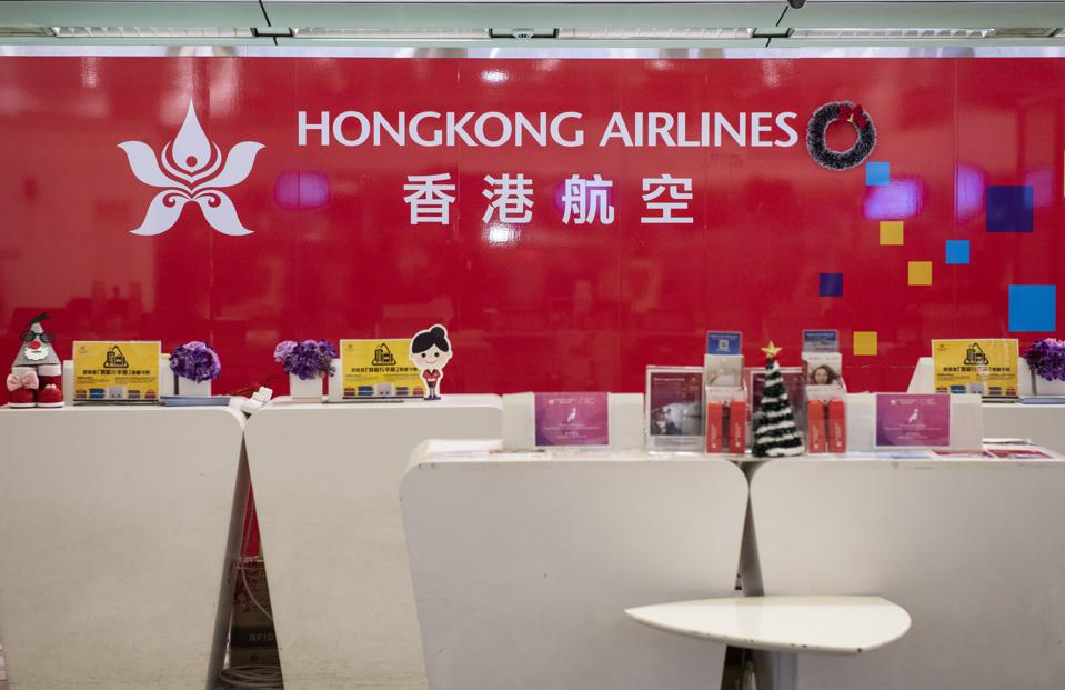 An empty Hong Kong Airlines desk seen at Hong Kong...