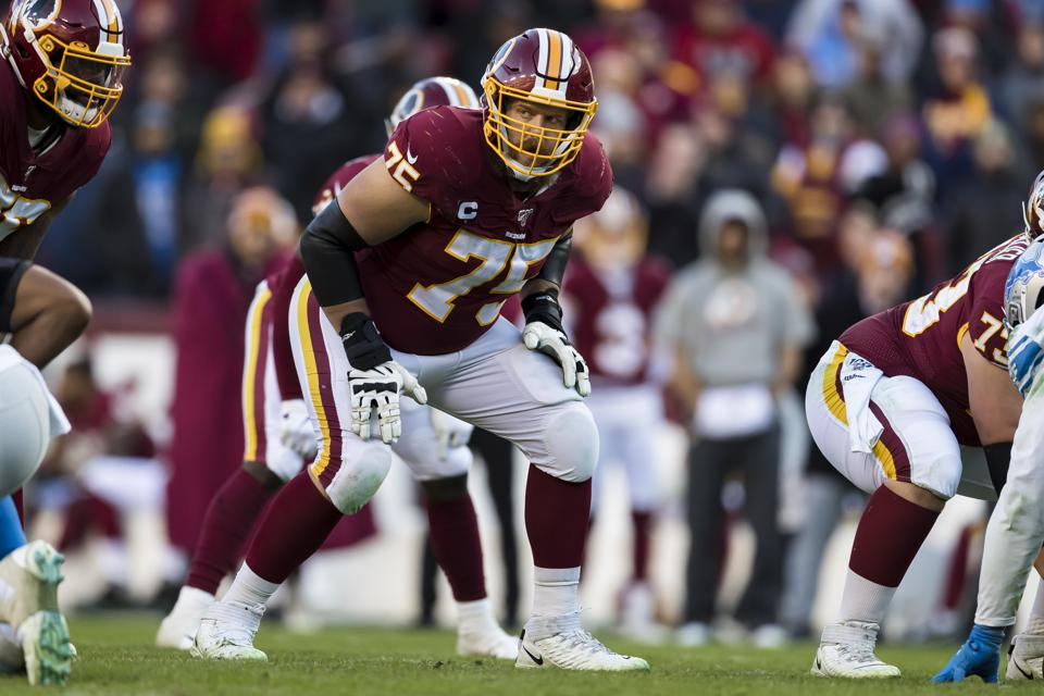 LANDOVER, MD - NOVEMBER 24: Brandon Scherff #75 of the Washington Redskins lines up against the Detroit Lions during the second half at FedExField on November 24, 2019 in Landover, Maryland. (Photo by Scott Taetsch/Getty Images)