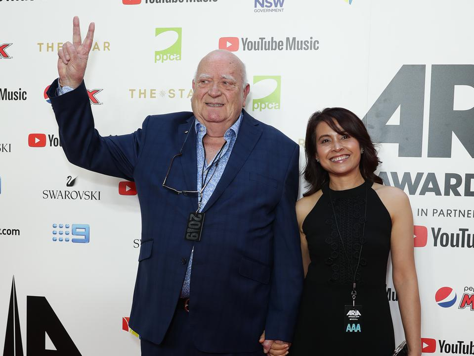 Michael Chugg (L) arrives for the 33rd Annual ARIA Awards 2019 on November 27, 2019 in Sydney, Australia