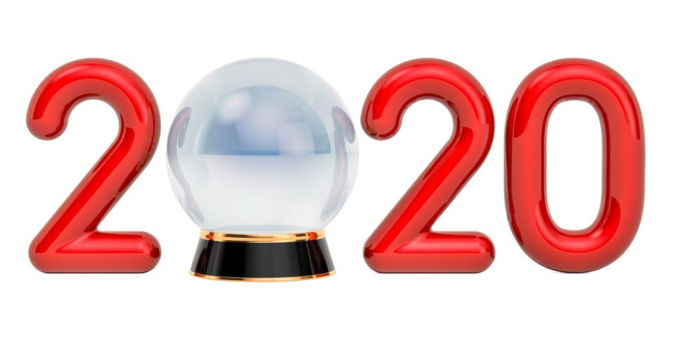 2020 with crystal ball, prediction for 2020 concept. 3D rendering isolated on white background
