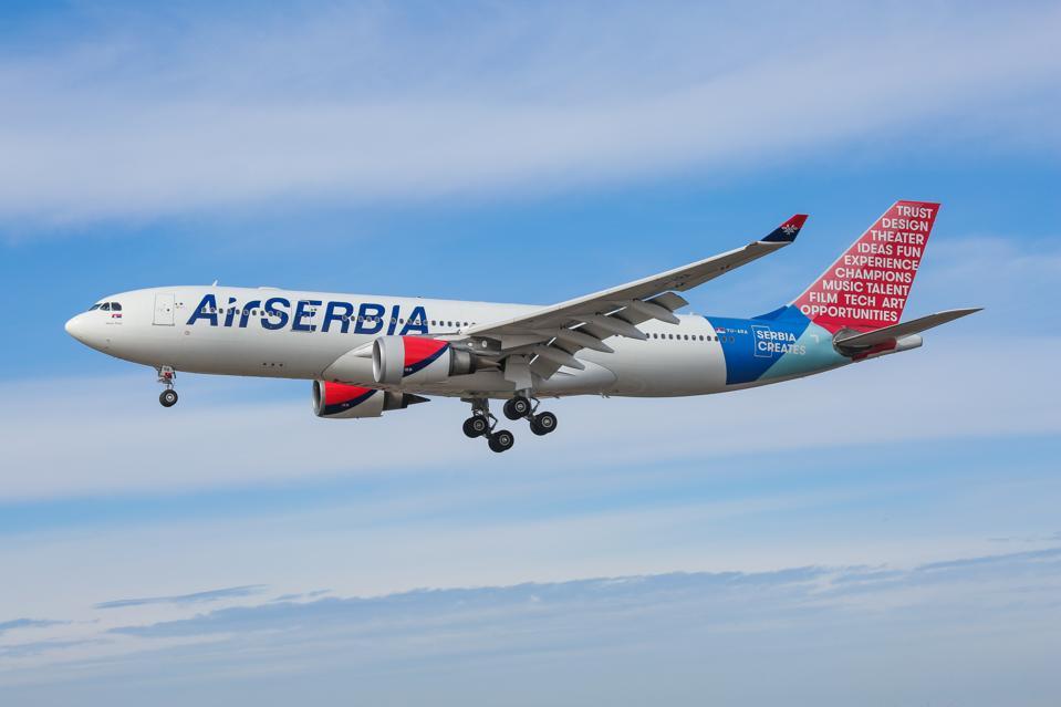 Air Serbia Airbus A330 flies towards New York JFK Airport USA America from belgrade