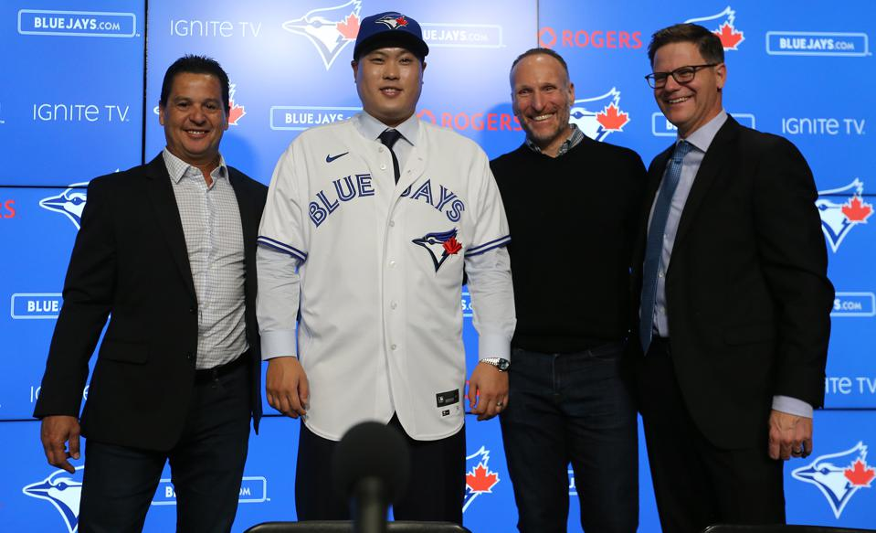 The Toronto Blue Jays' newly-signed free agent left-handed pitcher Hyun-Jin Ryu
