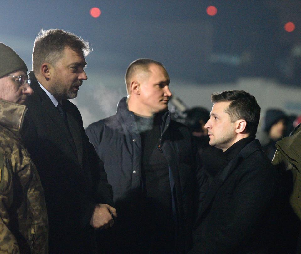 Relatives meet with the prisoners of war in Borispol, Ukraine