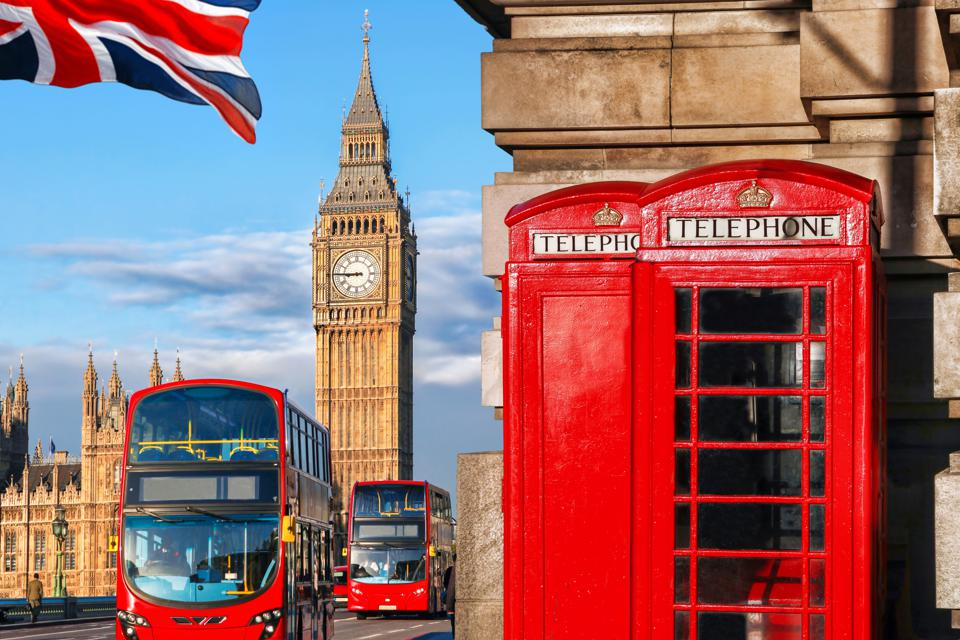 London Big Ben, double-decker bus and red telephone box
