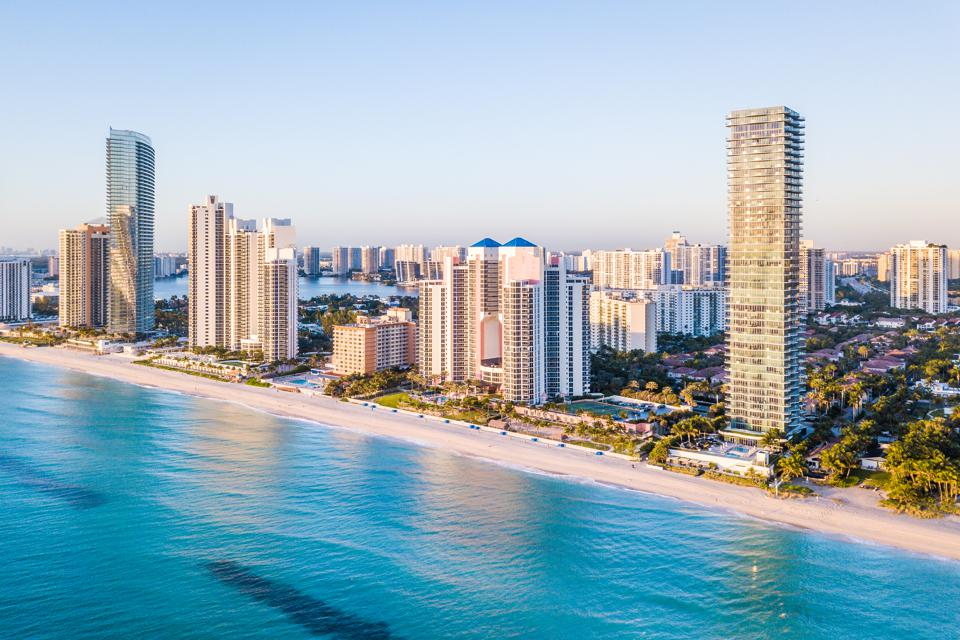Aerial panorama of skyline at waterfront of South Florida